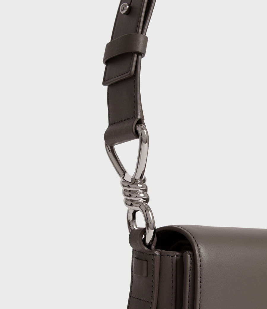 Women's Captain Leather Flap Crossbody Bag (storm_grey) - Image 5