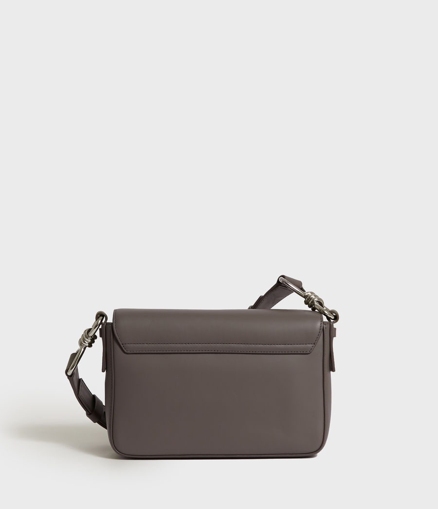Women's Captain Leather Flap Crossbody Bag (storm_grey) - Image 6
