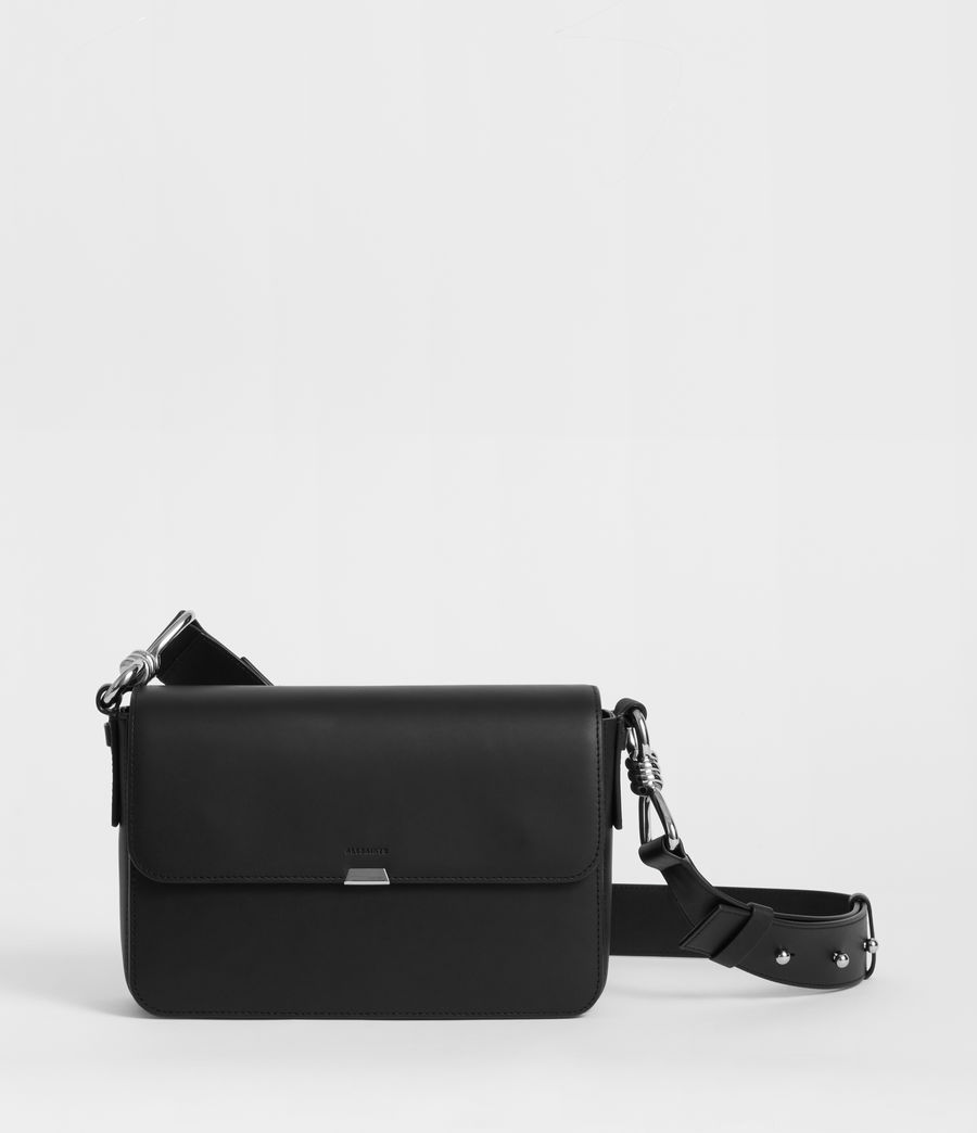 Women's Captain Leather Flap Crossbody Bag (black) - Image 1