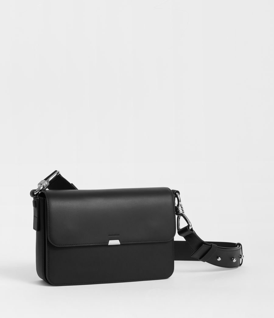 Women's Captain Leather Flap Crossbody Bag (black) - Image 2