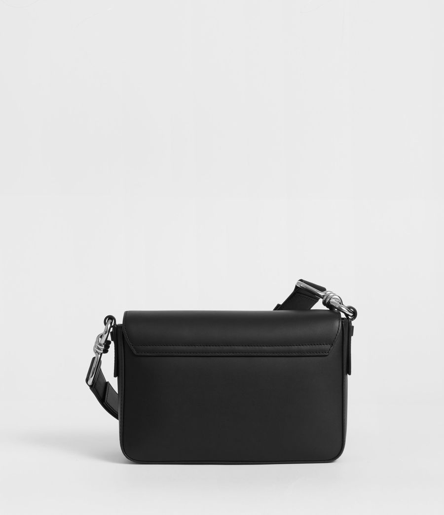 Women's Captain Leather Flap Crossbody Bag (black) - Image 5
