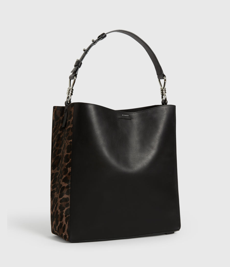 Women's Kim North South Leather Tote Bag (black) - Image 3