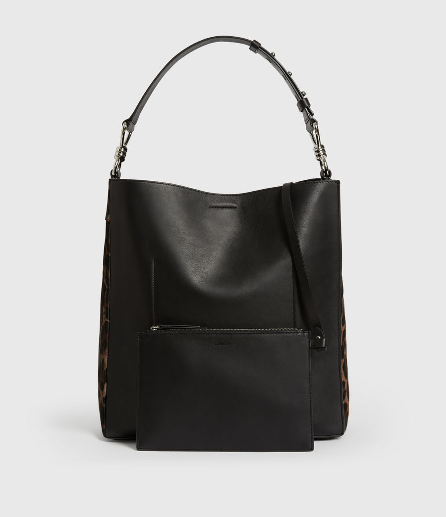 Womens Kim North South Leather Tote Bag (black) - Image 7