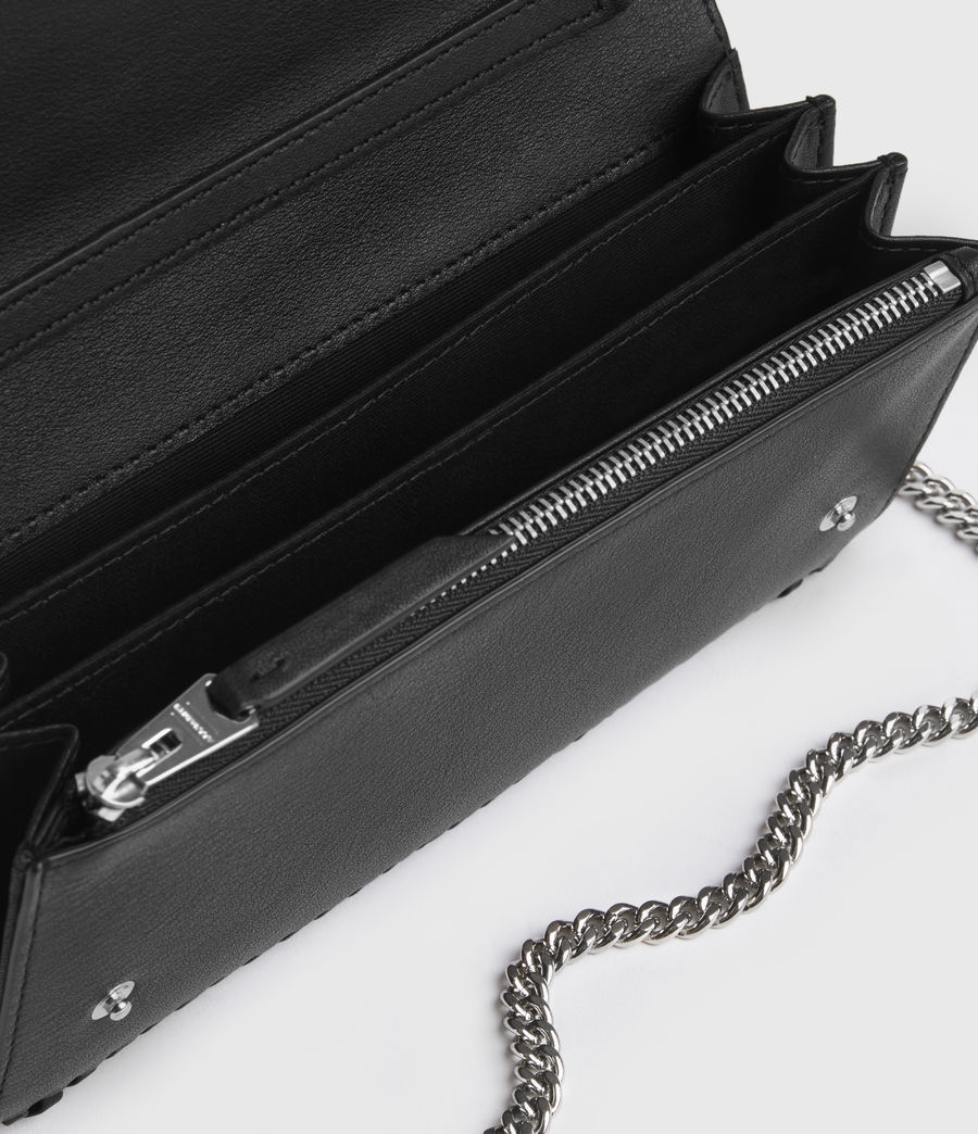 Women's Darlina Chain Leather Wallet (black) - Image 2