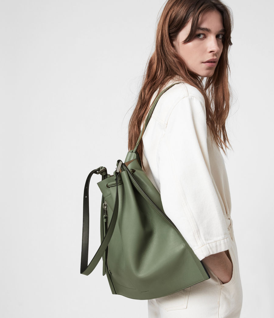 Women's Alpha Leather Backpack (sage_green) - Image 1
