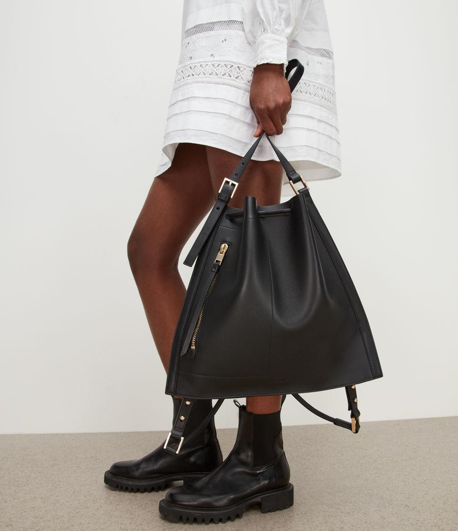 Womens Alpha Leather Backpack (black) - Image 4