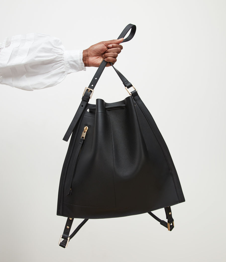 Womens Alpha Leather Backpack (black) - Image 6
