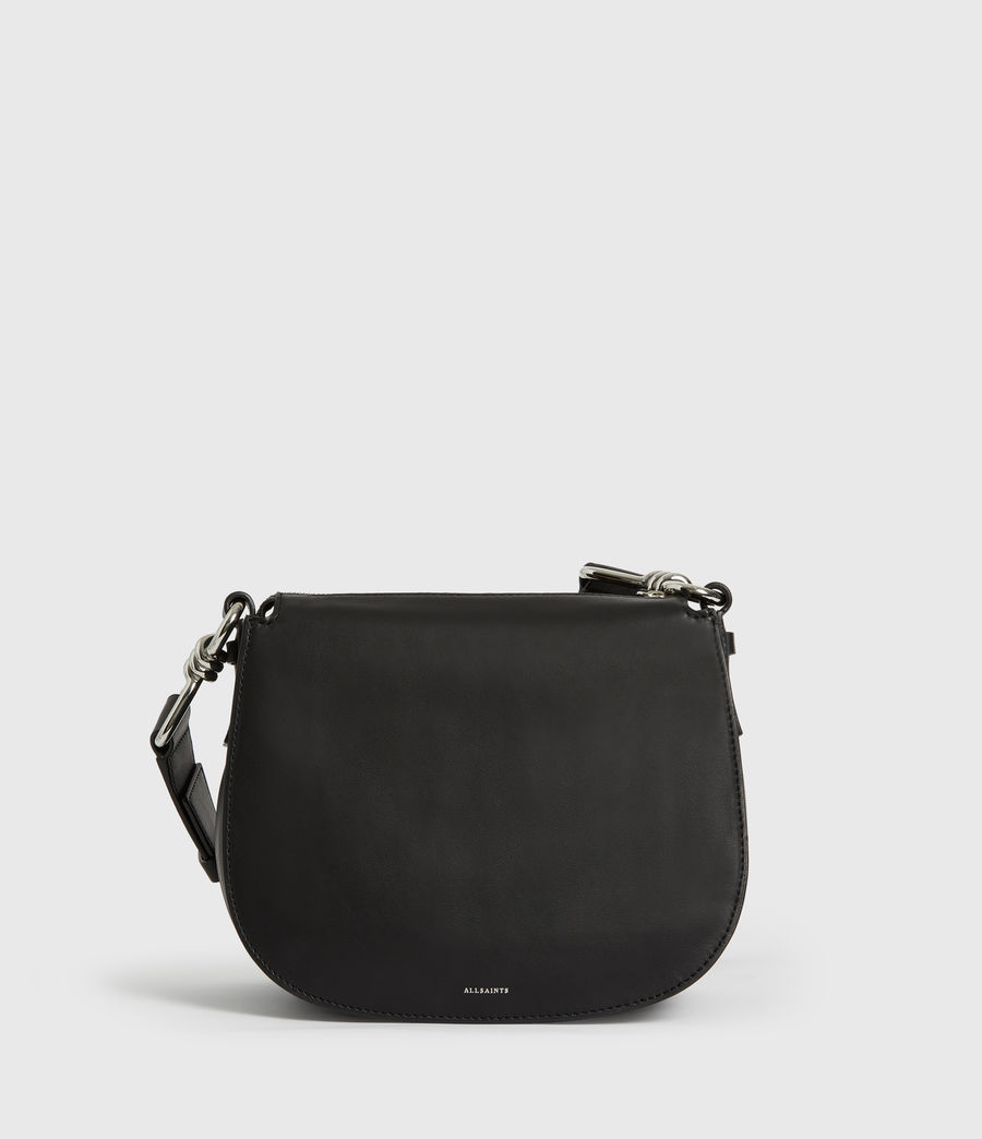 Women's Kim Round Leather Crossbody Bag (black) - Image 8