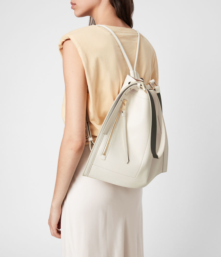 Women's Alpha Leather Backpack (roe_white) - Image 9