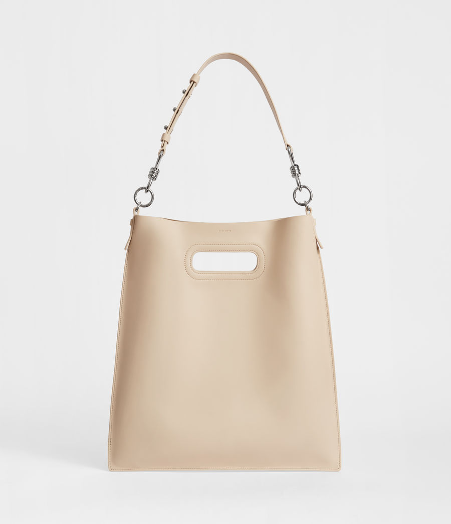 Women's Captain Leather Flat Hobo Bag (beige) - Image 1