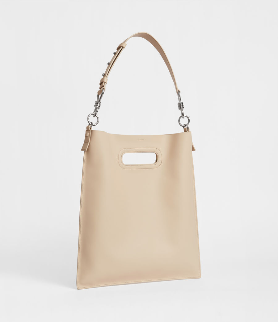 Women's Captain Leather Flat Hobo Bag (beige) - Image 2