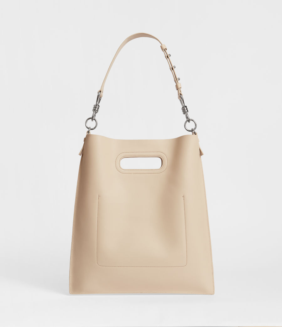 Women's Captain Leather Flat Hobo Bag (beige) - Image 5