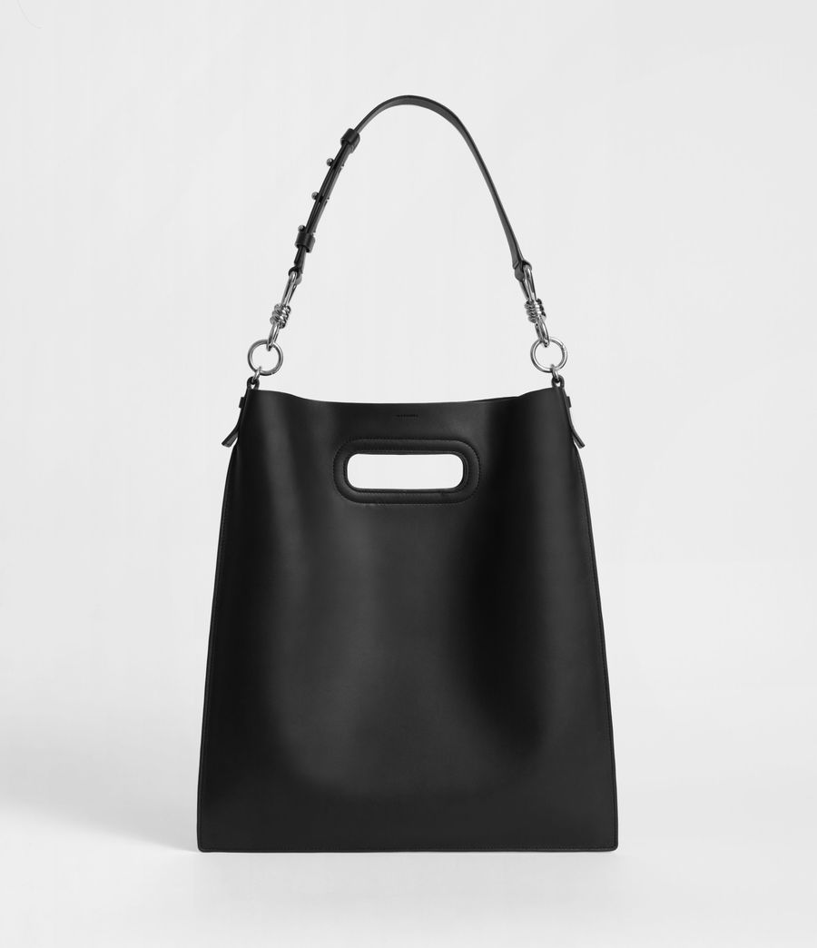 Womens Captain Leather Flat Hobo Bag (black) - Image 1