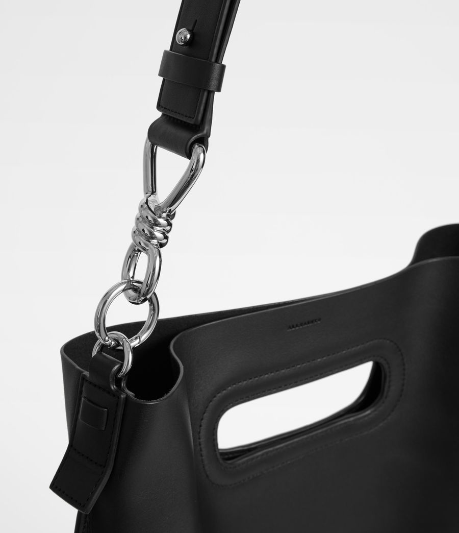 Women's Captain Leather Flat Hobo Bag (black) - Image 3