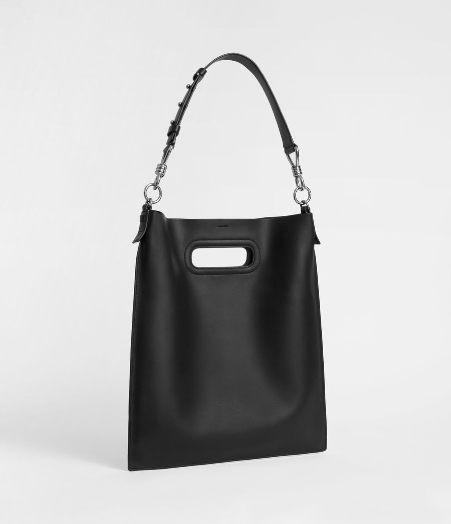 Womens Captain Leather Flat Hobo Bag (black) - Image 4