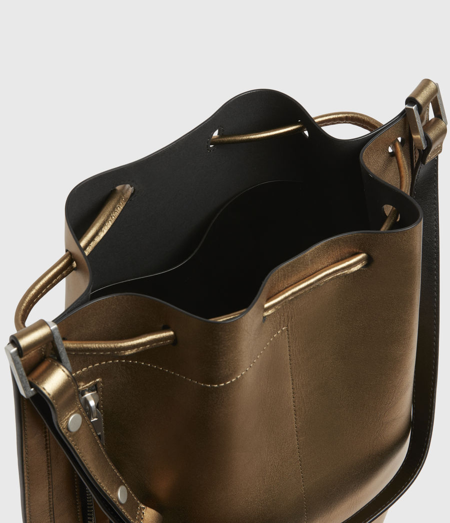Womens Lear Leather Backpack (gold) - Image 3