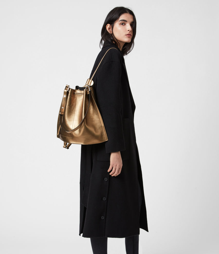 Womens Lear Leather Backpack (gold) - Image 4