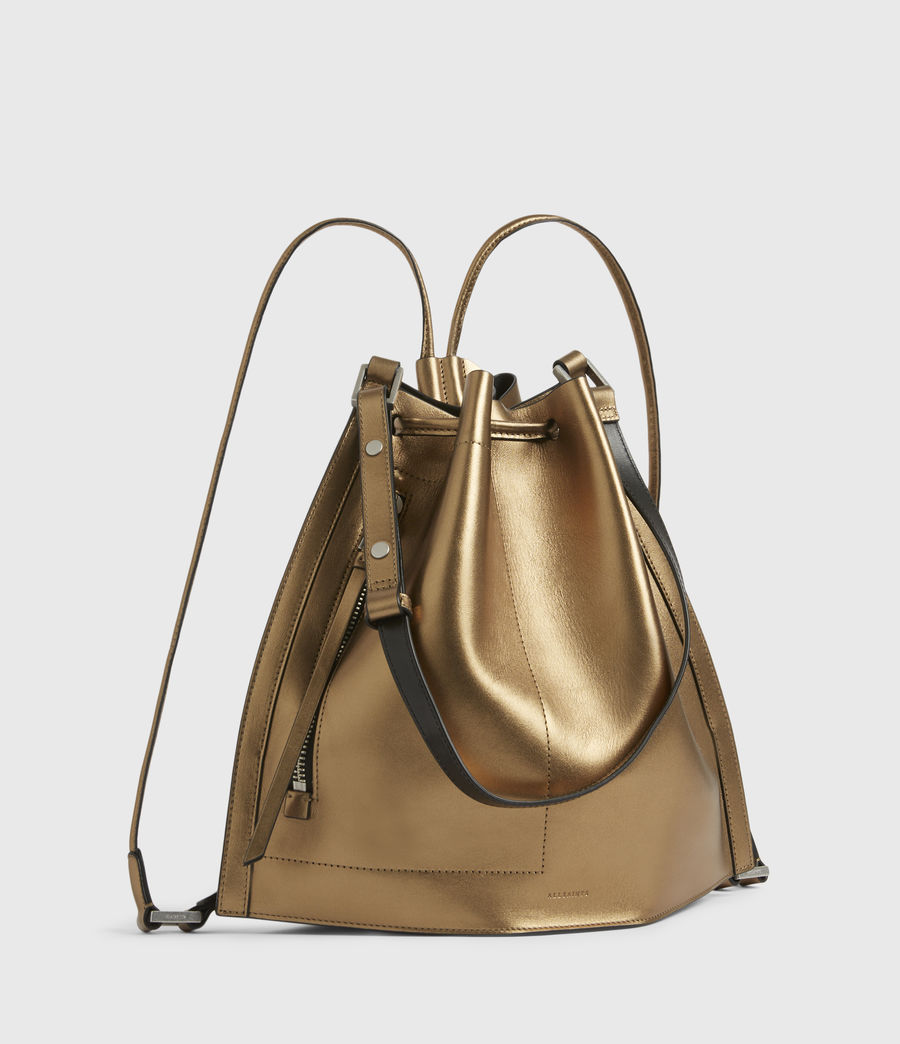 Womens Lear Leather Backpack (gold) - Image 5