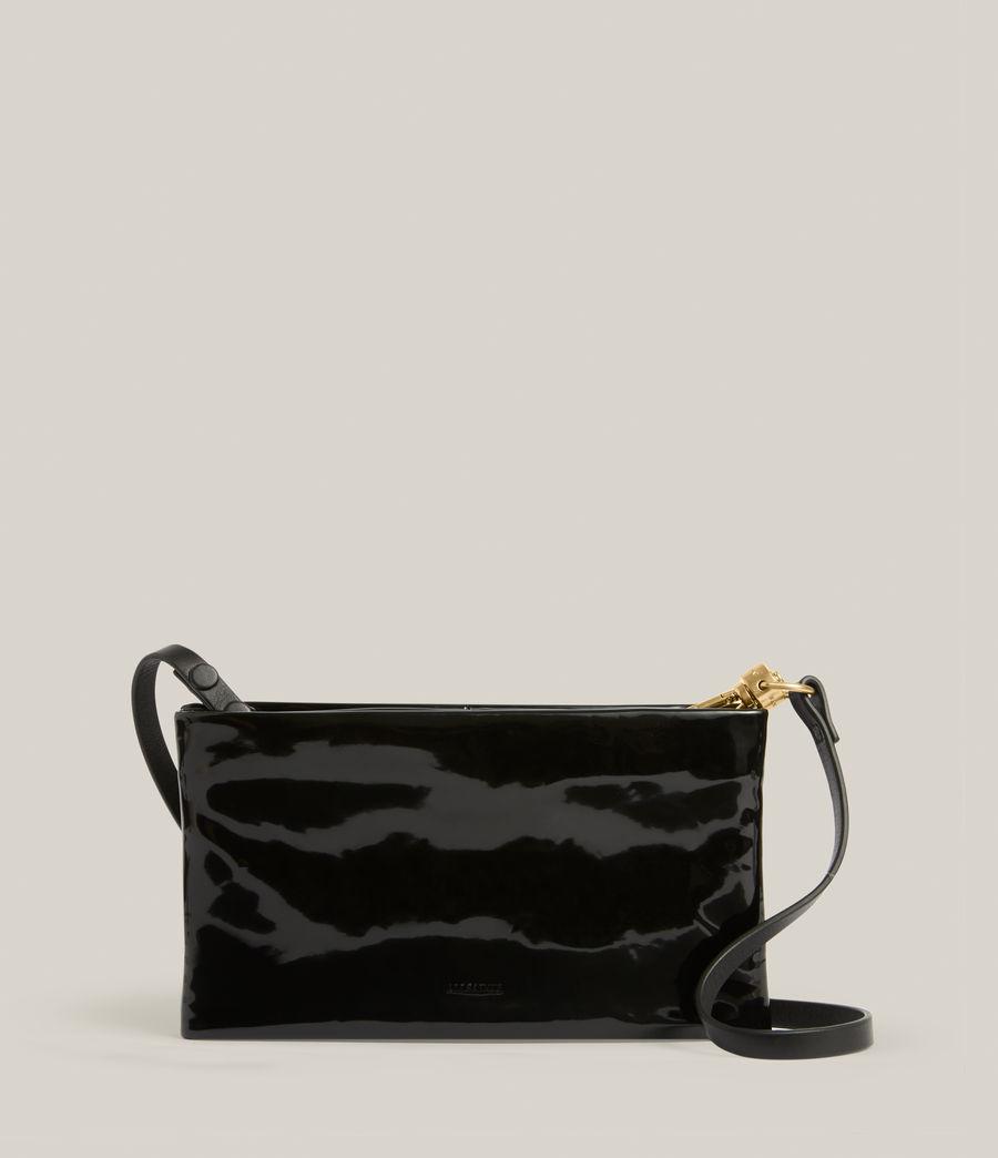 Womens Mila Leather Double Pouch Bag (liquid_black) - Image 1
