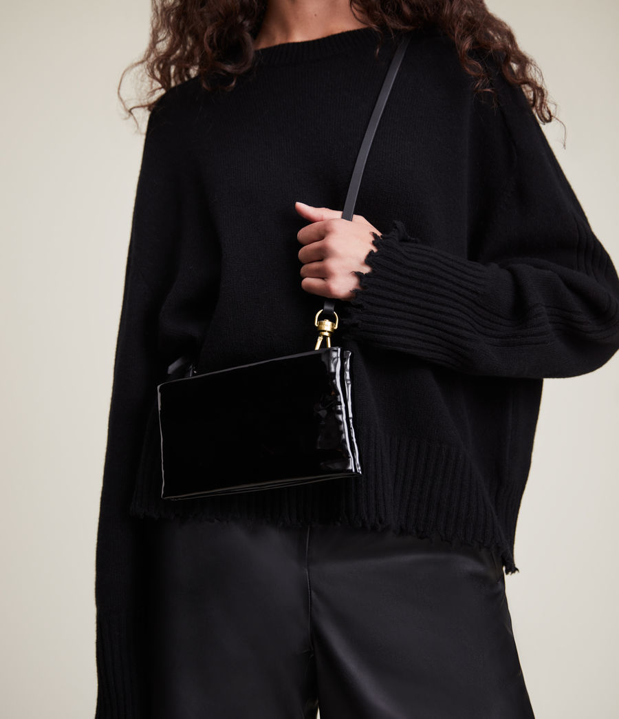 Womens Mila Leather Double Pouch Bag (liquid_black) - Image 2