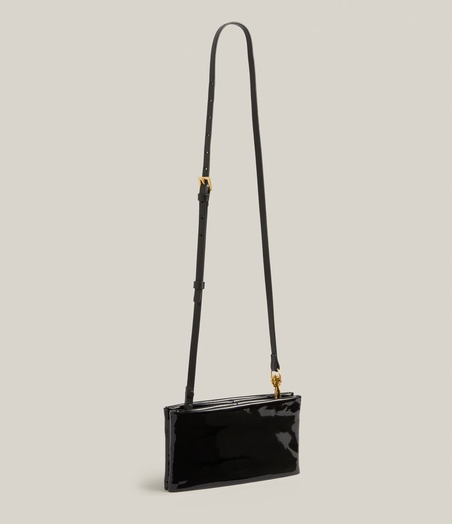 Womens Mila Leather Double Pouch Bag (liquid_black) - Image 4