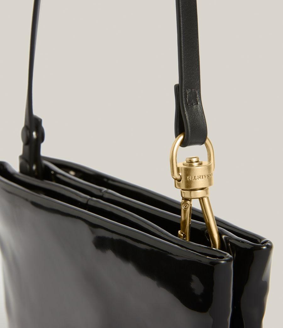 Womens Mila Leather Double Pouch Bag (liquid_black) - Image 5