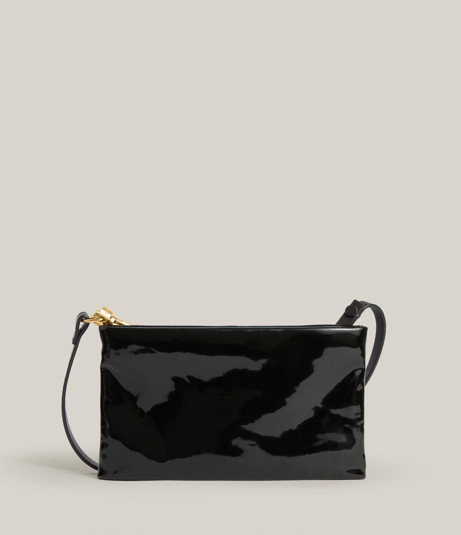 Womens Mila Leather Double Pouch Bag (liquid_black) - Image 7