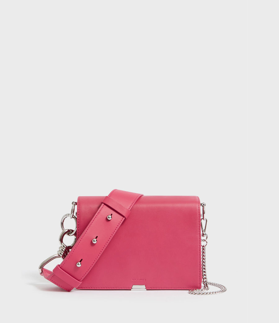 Womens Captain Leather Flap Shoulder Bag (fuschia_pink) - Image 1