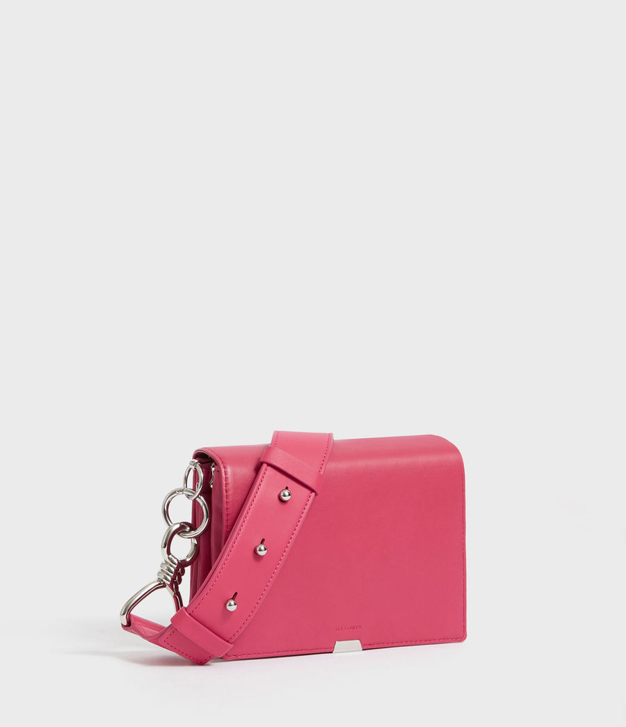 Womens Captain Leather Flap Shoulder Bag (fuschia_pink) - Image 2