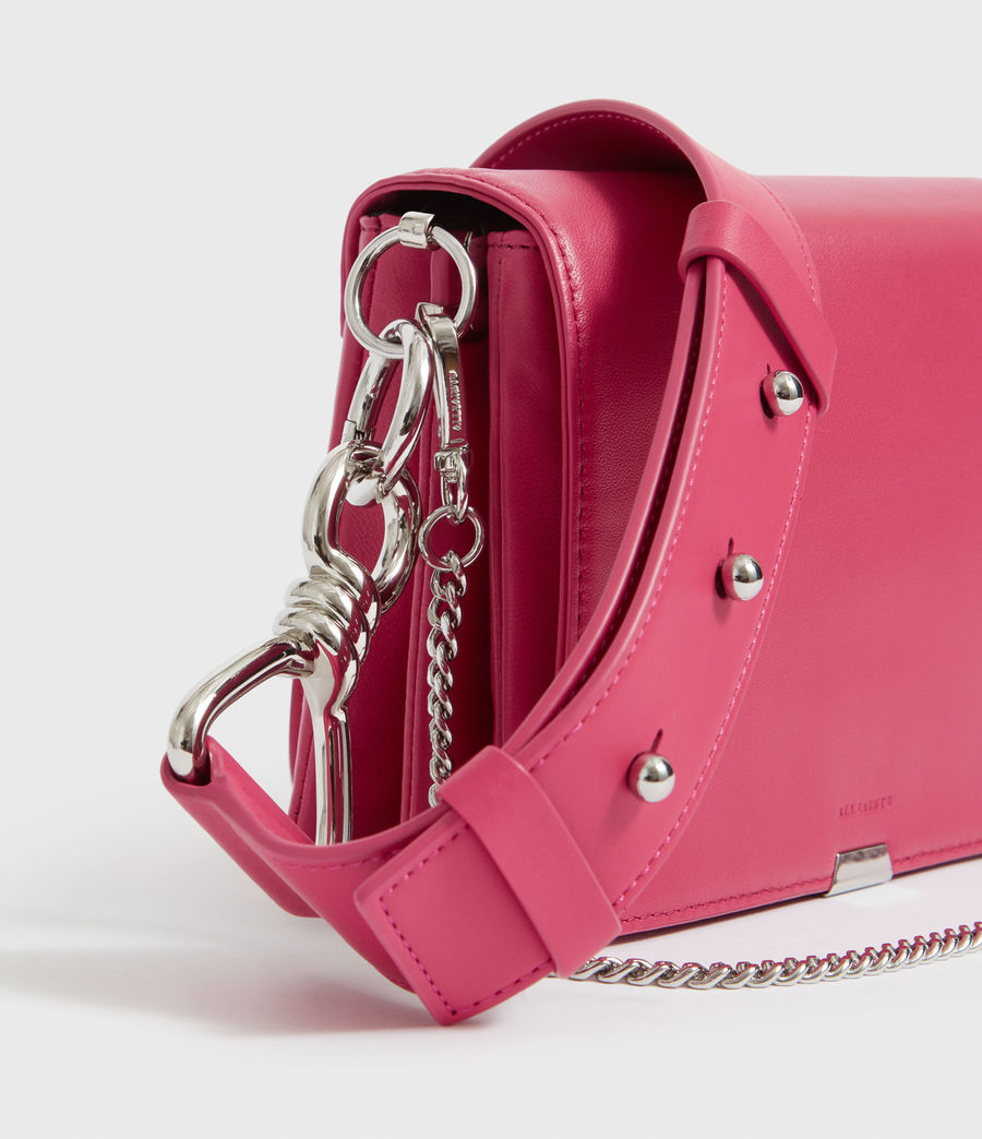 Womens Captain Leather Flap Shoulder Bag (fuschia_pink) - Image 3