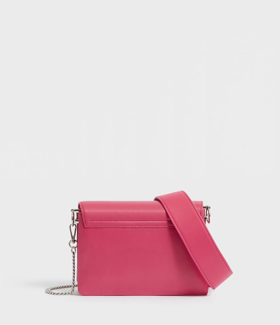 Womens Captain Leather Flap Shoulder Bag (fuschia_pink) - Image 4