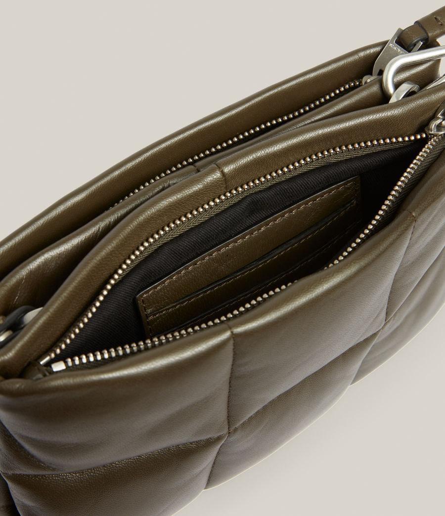 Women's Mila Leather Quilted Pouch Bag (dusky_khaki) - Image 3