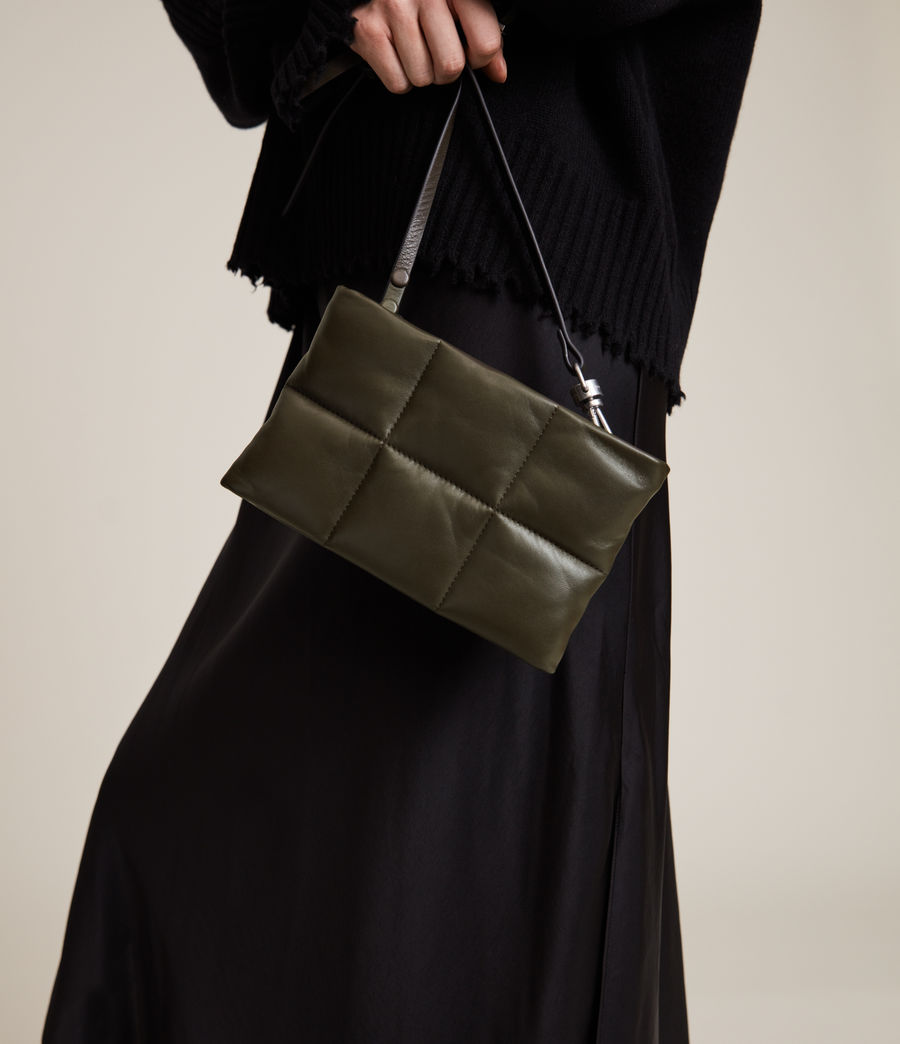 Women's Mila Leather Quilted Pouch Bag (dusky_khaki) - Image 4