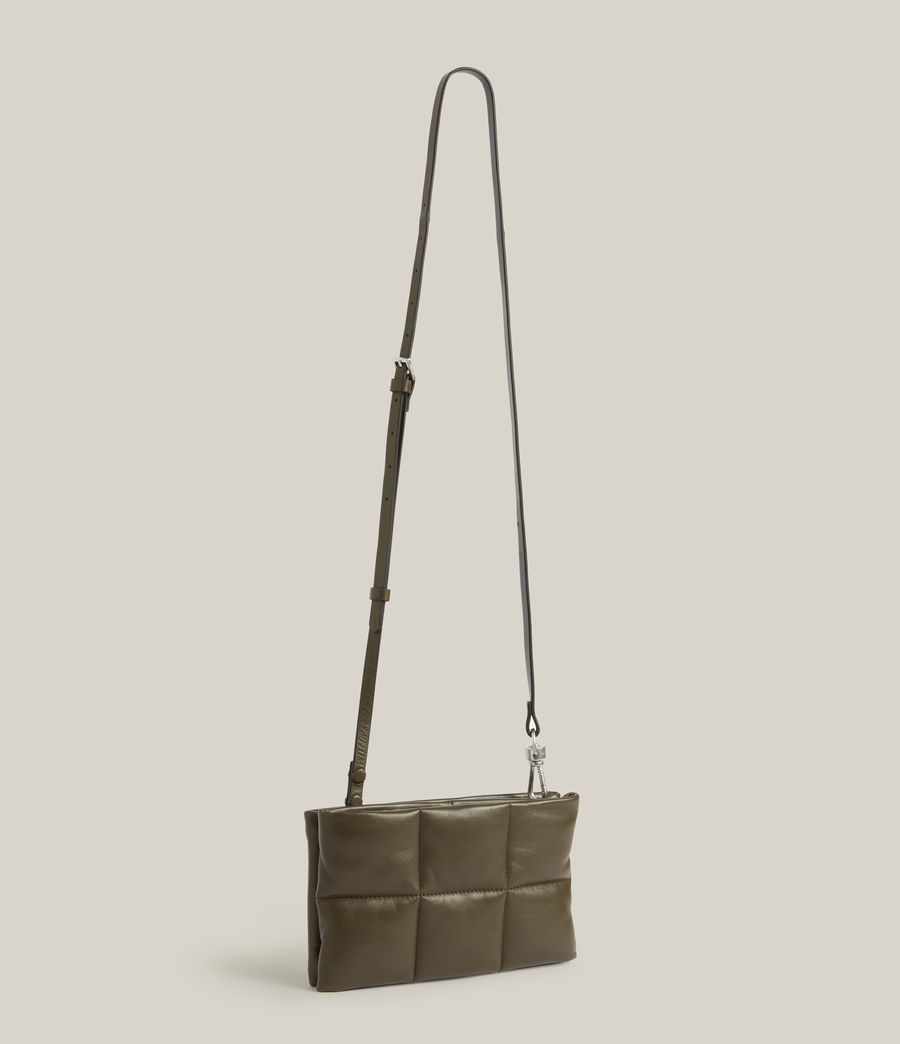 Women's Mila Leather Quilted Pouch Bag (dusky_khaki) - Image 5