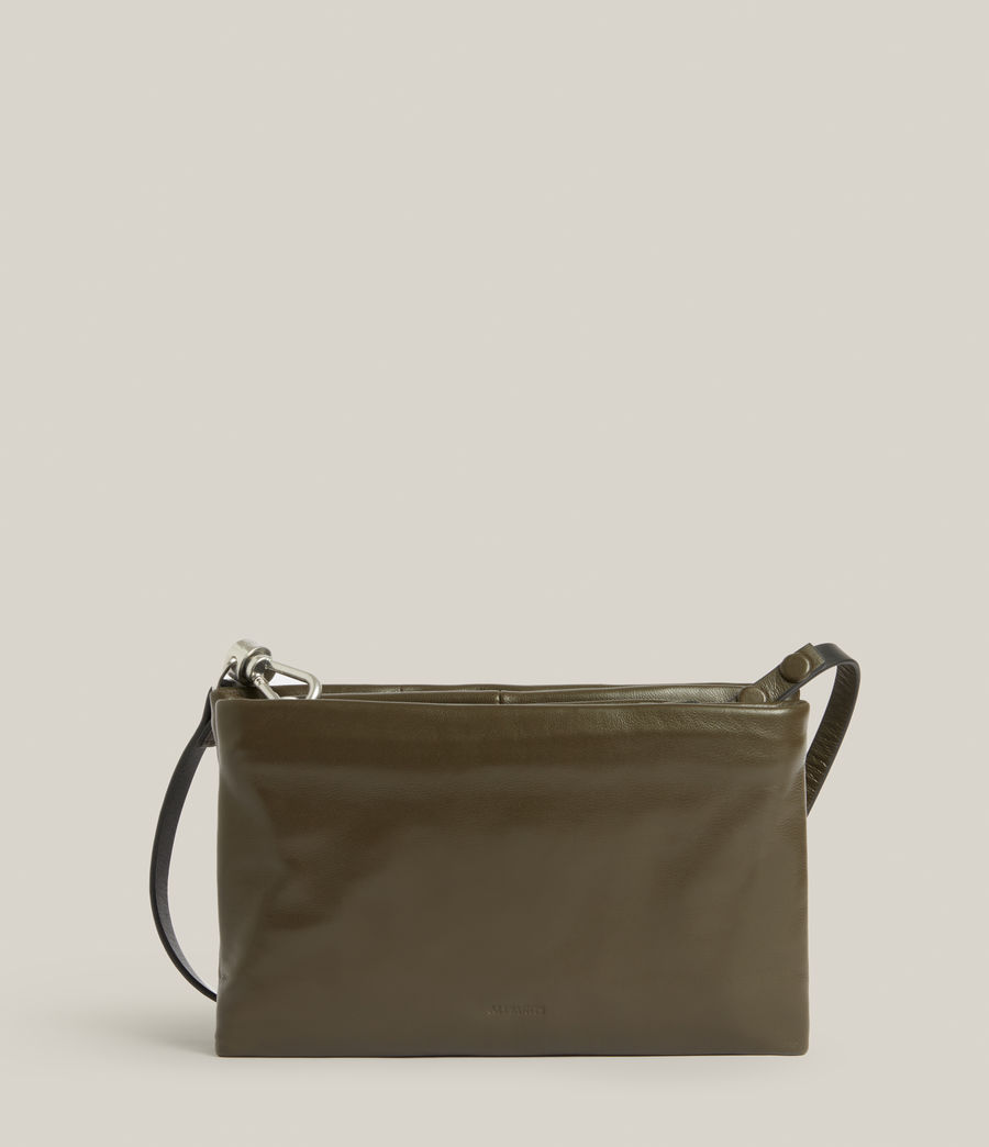 Women's Mila Leather Quilted Pouch Bag (dusky_khaki) - Image 8