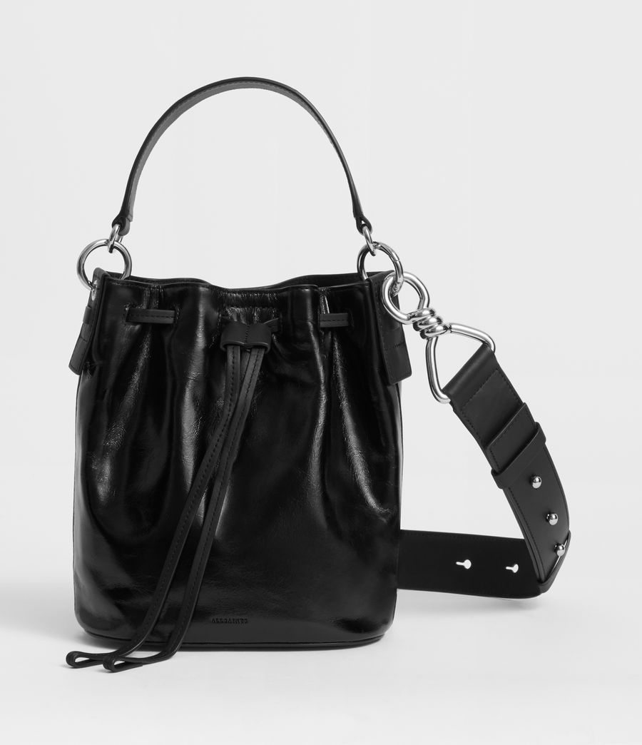 Women's Captain Lea Leather Small Bucket Bag (black) - Image 1