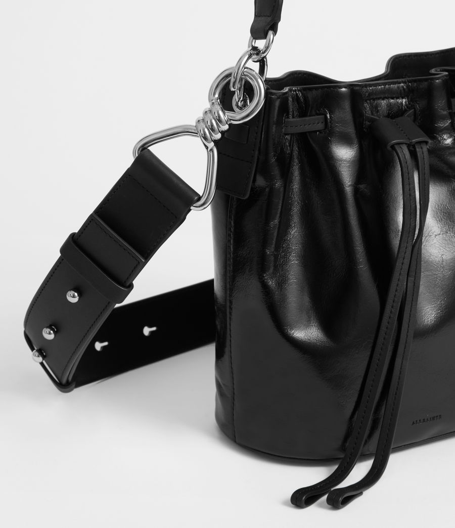 Women's Captain Lea Leather Small Bucket Bag (black) - Image 2