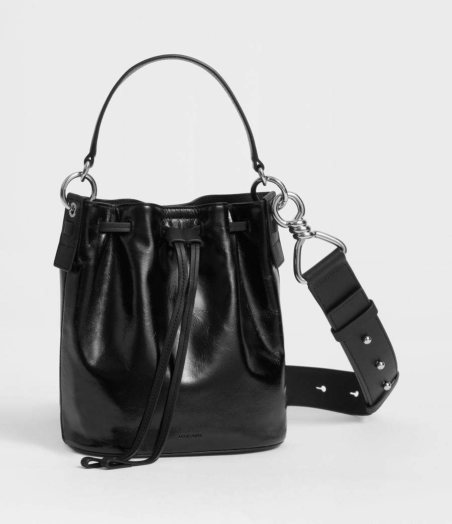 Women's Captain Lea Leather Small Bucket Bag (black) - Image 3