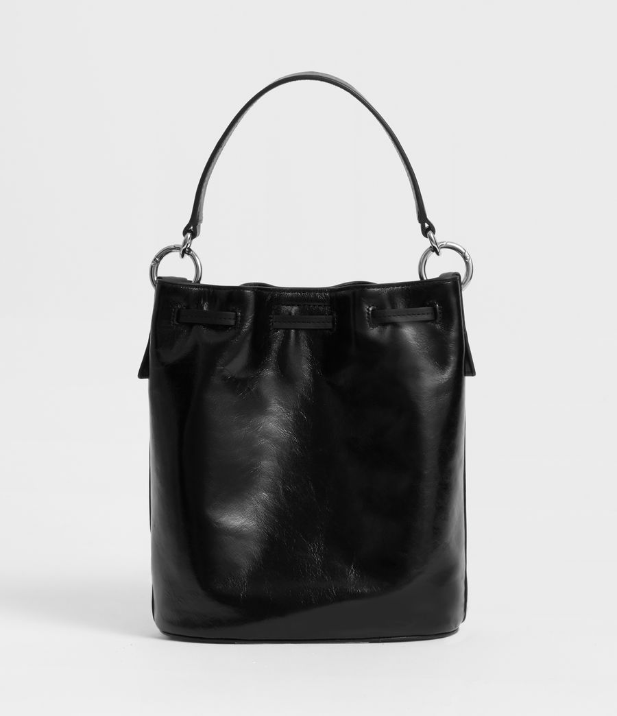 Women's Captain Lea Leather Small Bucket Bag (black) - Image 7