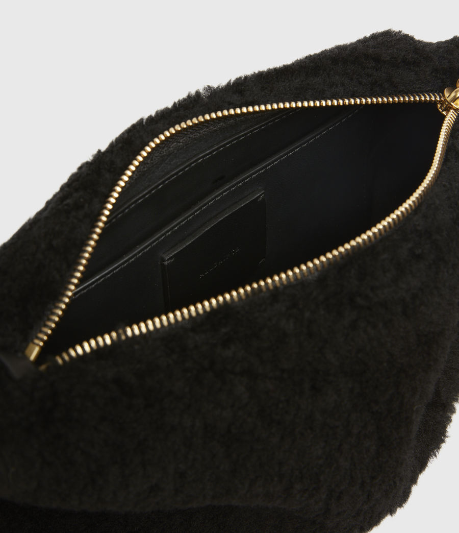 Womens Eve Shearling Crossbody Bag (black) - Image 3