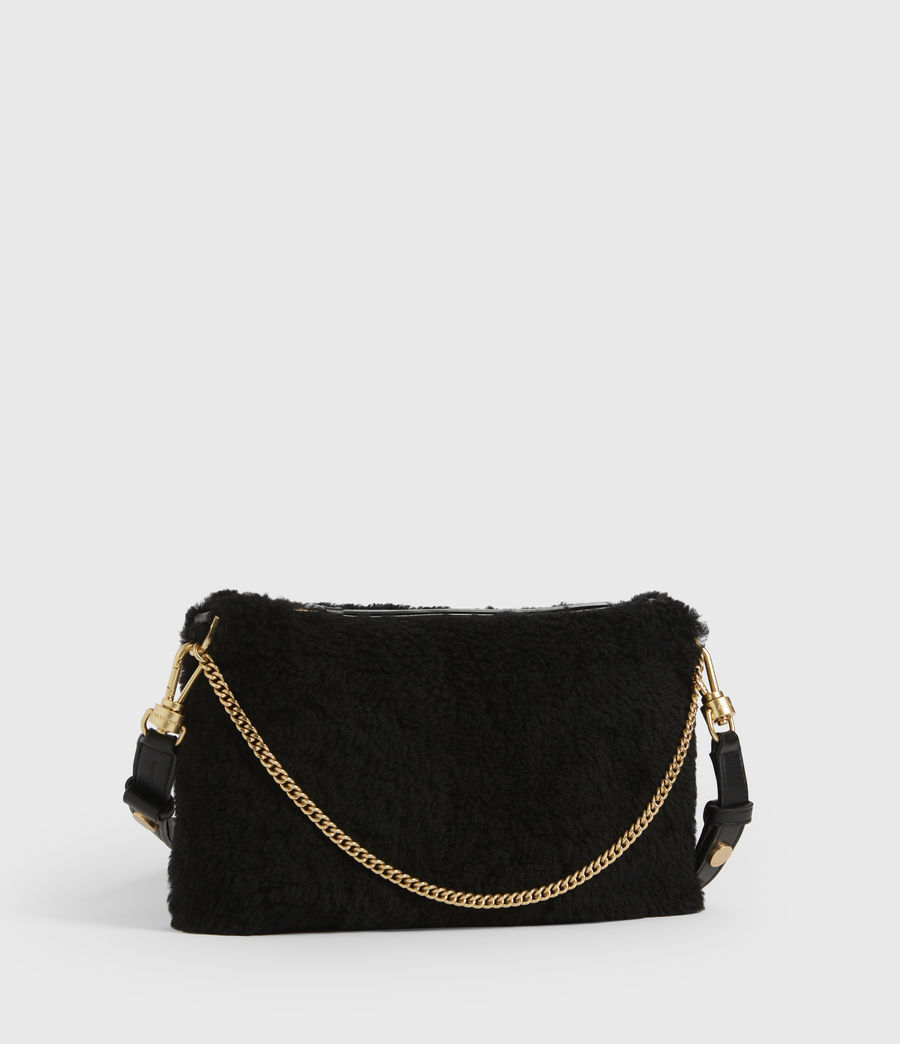 Womens Eve Shearling Crossbody Bag (black) - Image 4