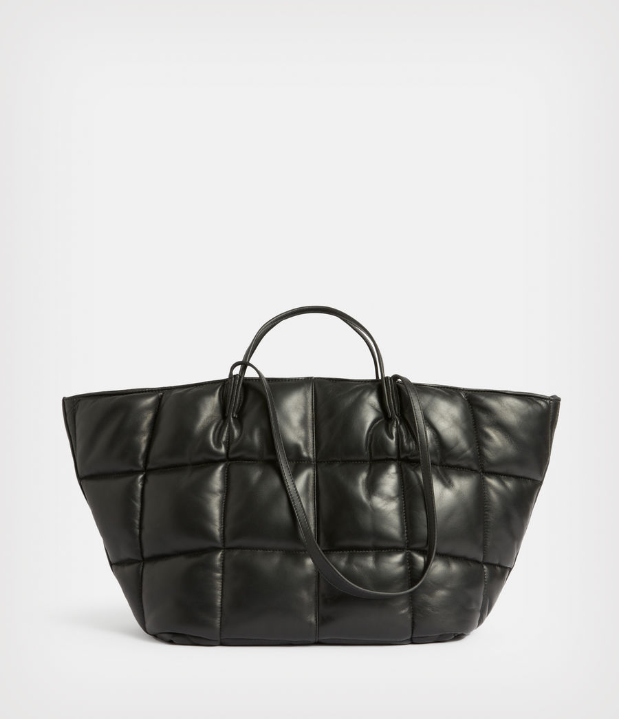 Women's Nadaline Leather Quilted Tote Bag (black) - Image 1