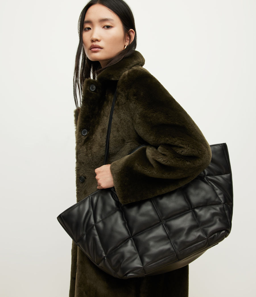 Women's Nadaline Leather Quilted Tote Bag (black) - Image 2