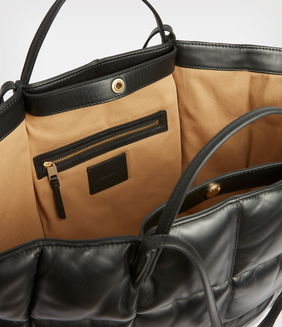 Women's Nadaline Leather Quilted Tote Bag (black) - Image 3