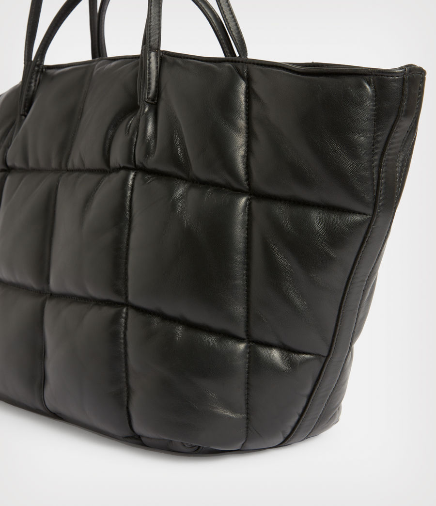 Women's Nadaline Leather Quilted Tote Bag (black) - Image 5