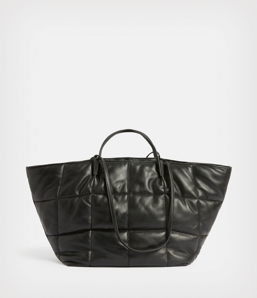 Women's Nadaline Leather Quilted Tote Bag (black) - Image 6