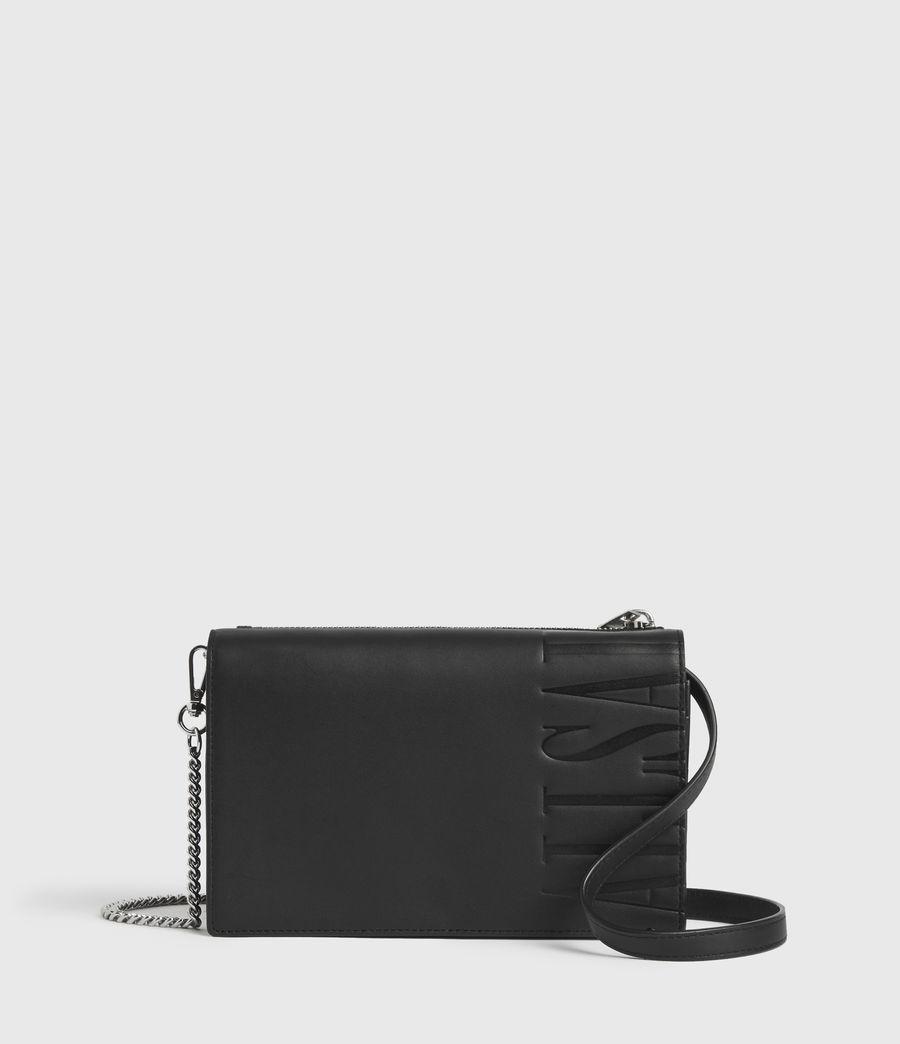Women's Roman Chain Leather Wallet Crossbody Bag (black) - Image 1