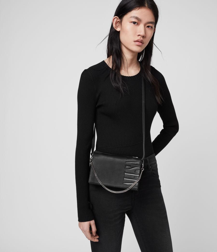 Women's Roman Chain Leather Wallet Crossbody Bag (black) - Image 2
