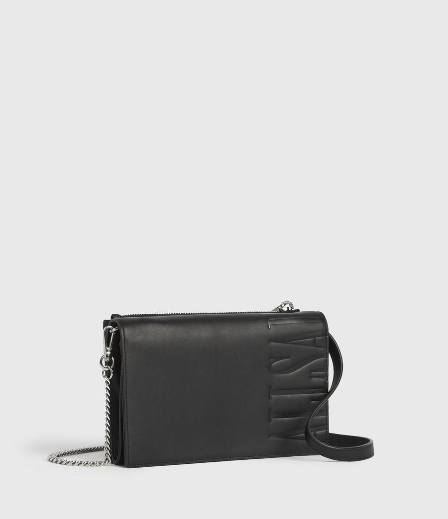 Women's Roman Chain Leather Wallet Crossbody Bag (black) - Image 3