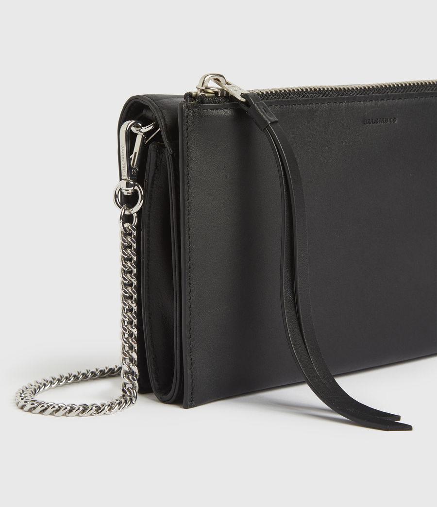 Women's Roman Chain Leather Wallet Crossbody Bag (black) - Image 5